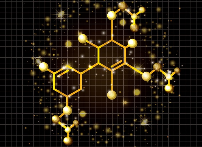 Molecule structure golden icon - from: Colourbox.com